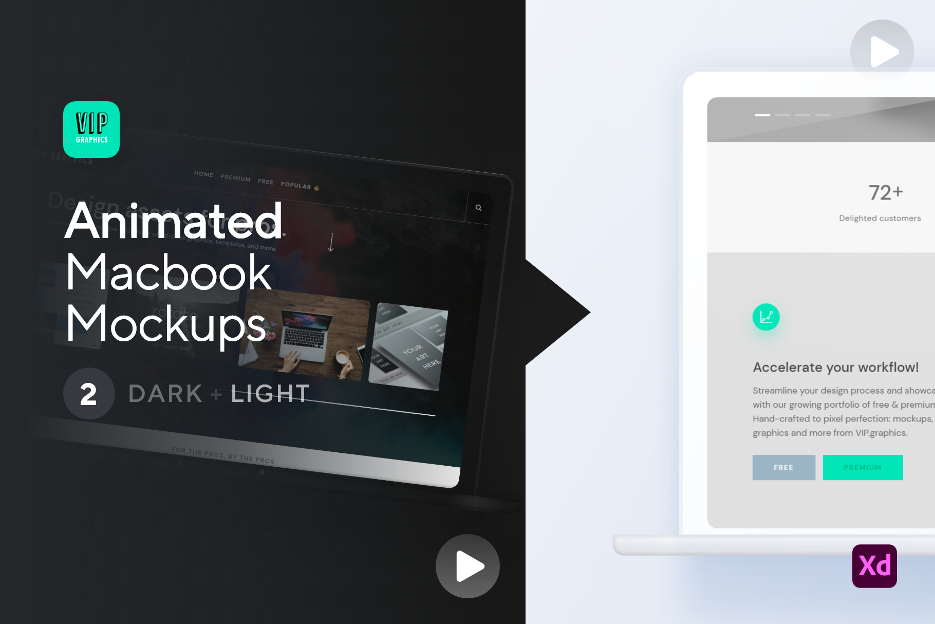 Animated Macbook - Video Mockup - Scrolling Laptop (for Adobe XD) | VIP.graphics: Just download, then drag-n-drop!