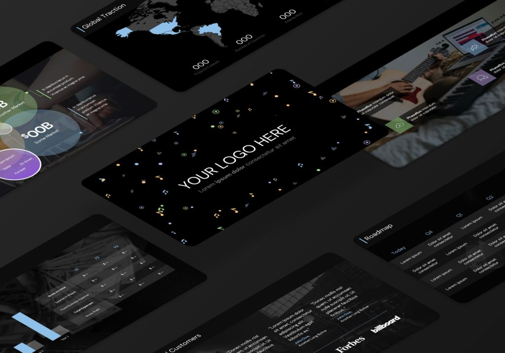 Music Startup App Pitch Presentation Slide Deck   VIP.graphics