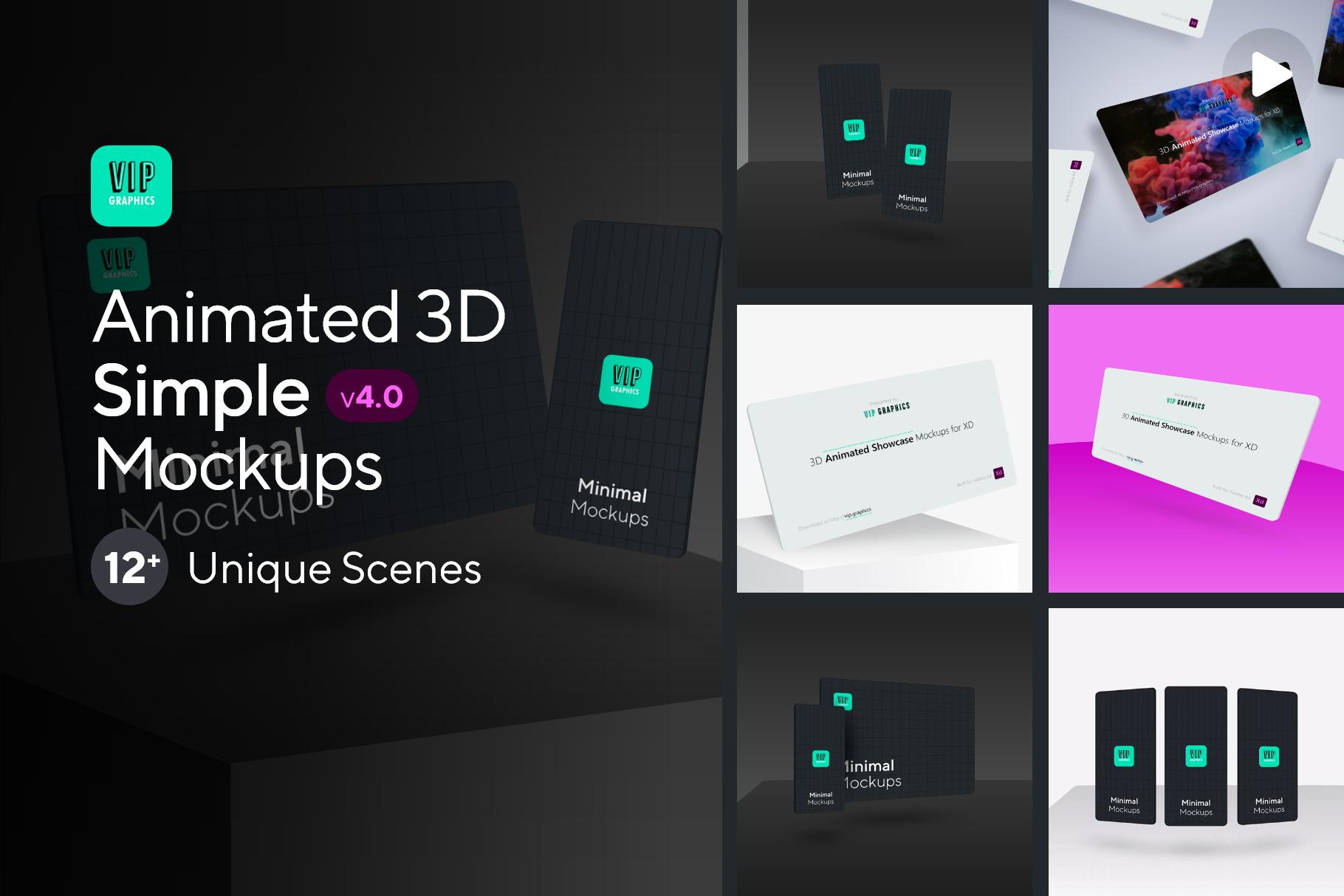Animated Showcase Mockup for Adobe XD | VIP.graphics
