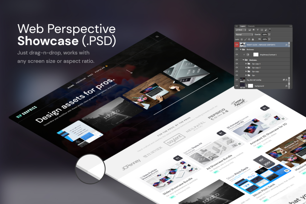 Website Isometric Perspective Mockup Desktop PSD (Freebie) | VIP.graphics