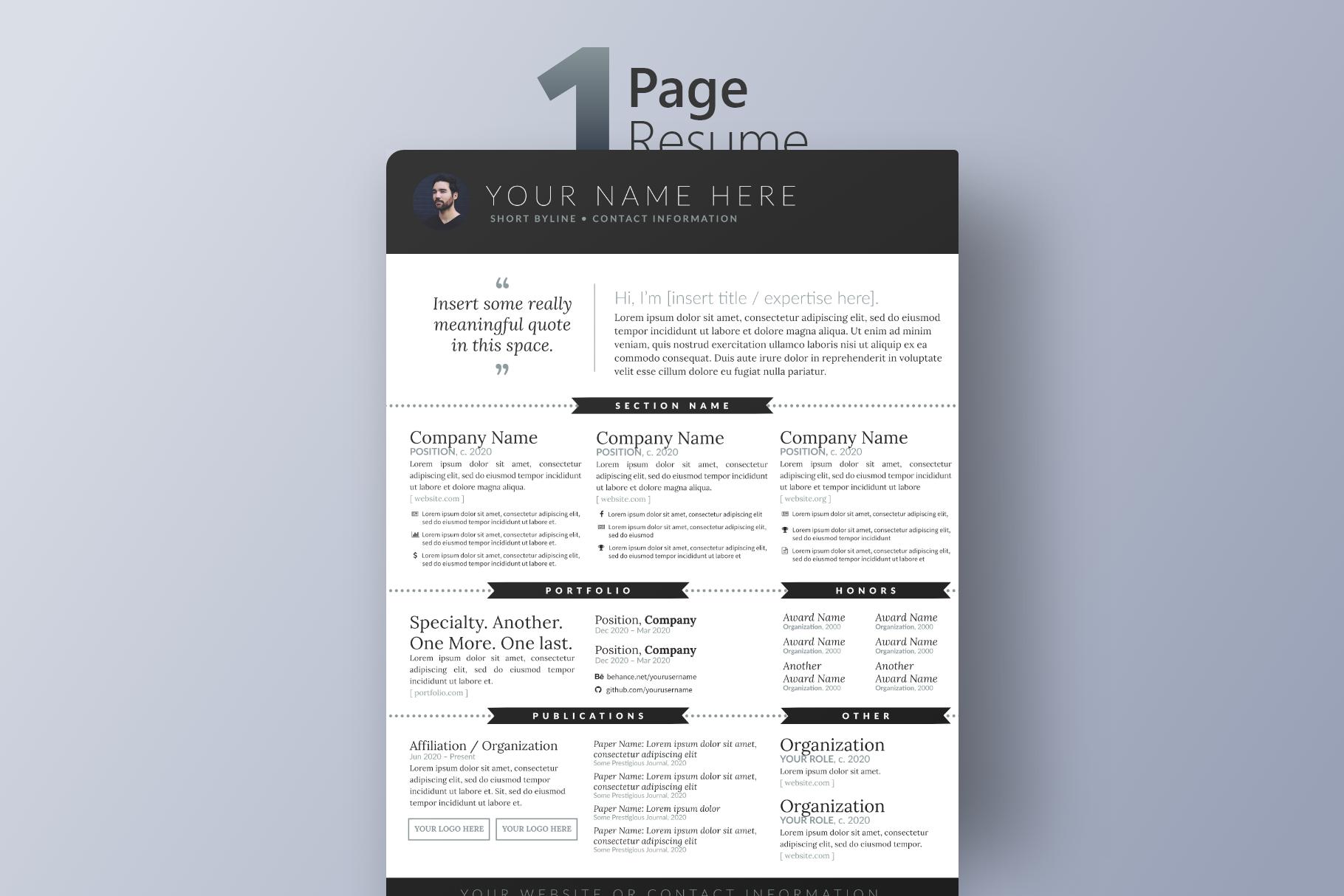 Modern Minimalist Resume Template PSD Photoshop | VIP.graphics