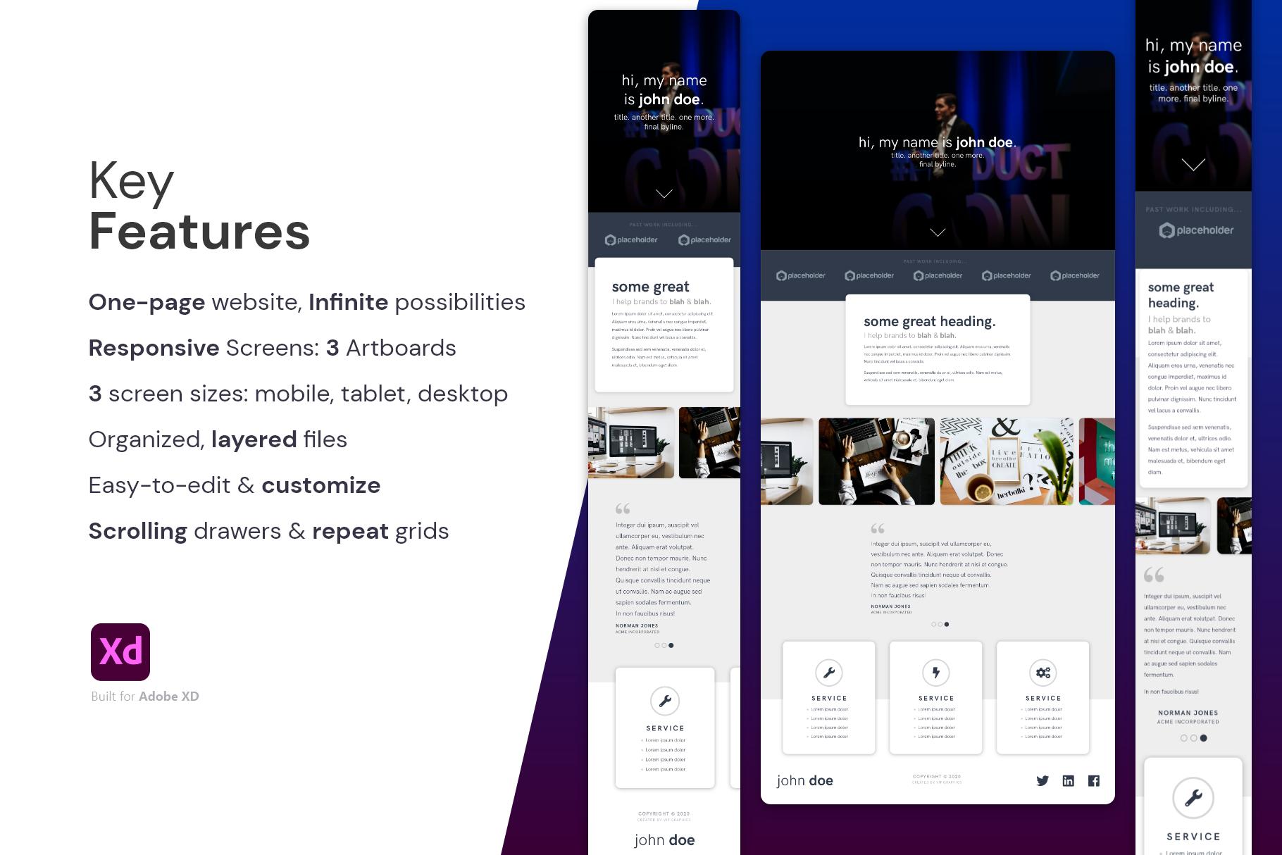 Creative Portfolio Website Template for XD | VIP.graphics