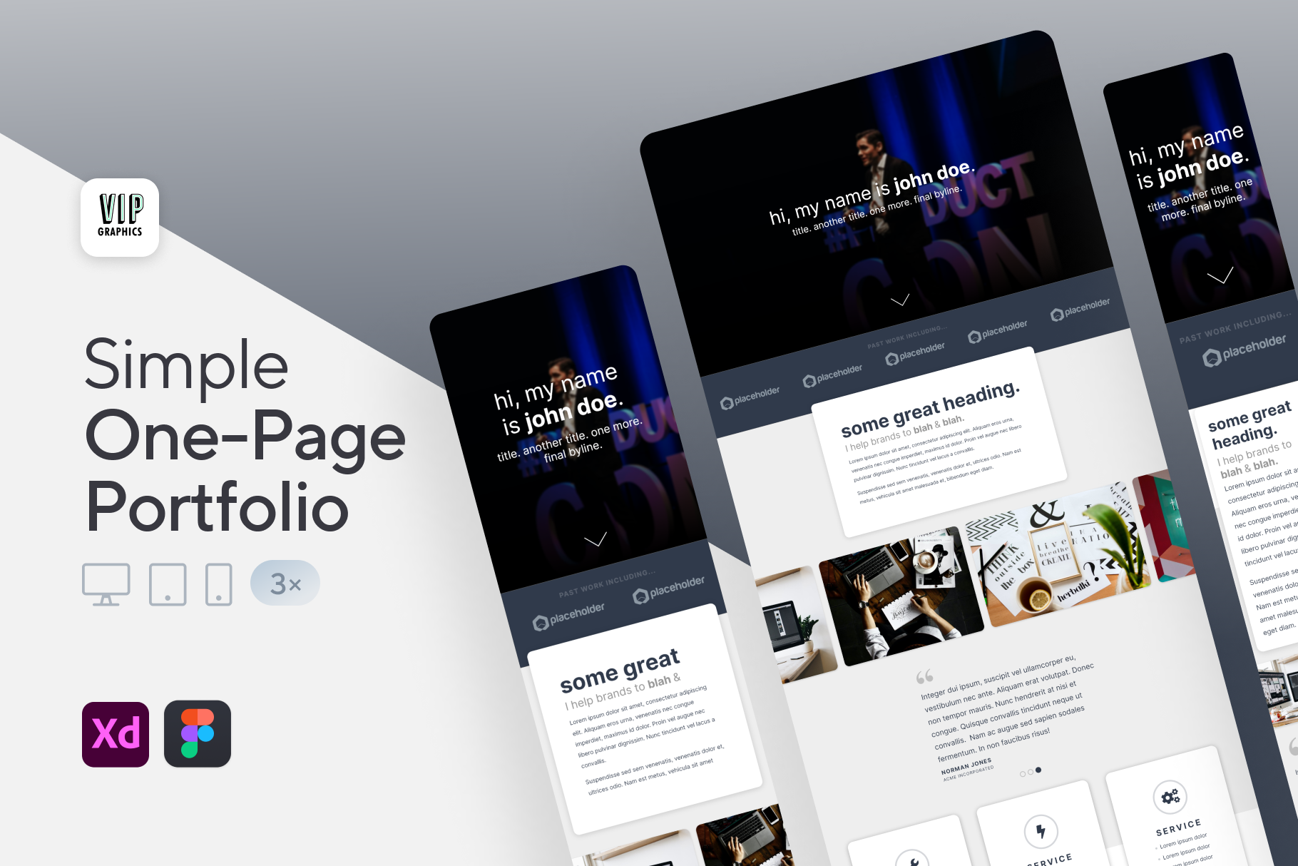 One-Page Website Template for Adobe XD | Creative Portfolio Website | VIP.graphics