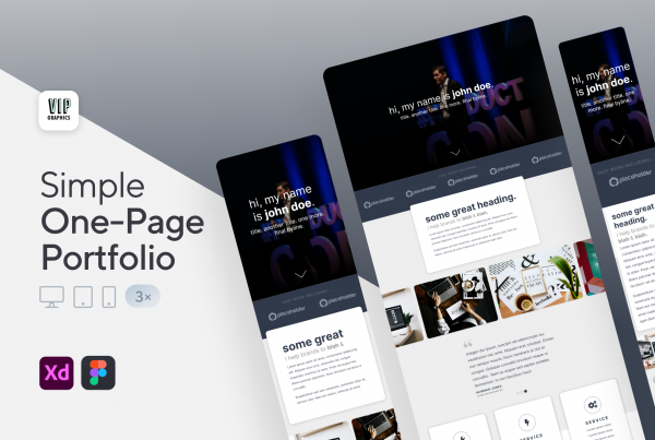 Creative Portfolio Website - Responsive, One-Page Template (.XD)
