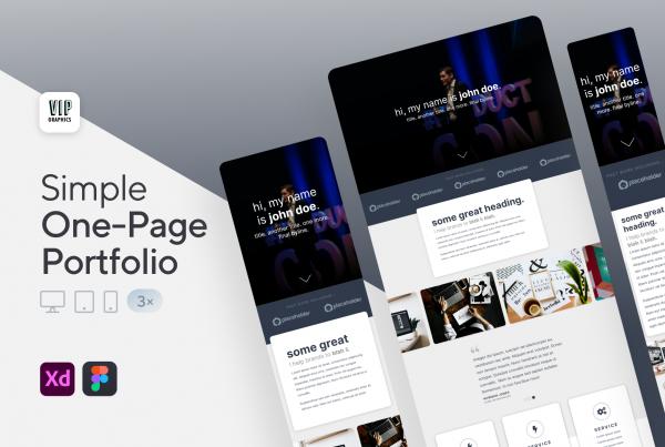Creative Portfolio Website - Responsive, One-Page (.XD)