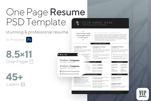One-Page Modern Resume PSD Template