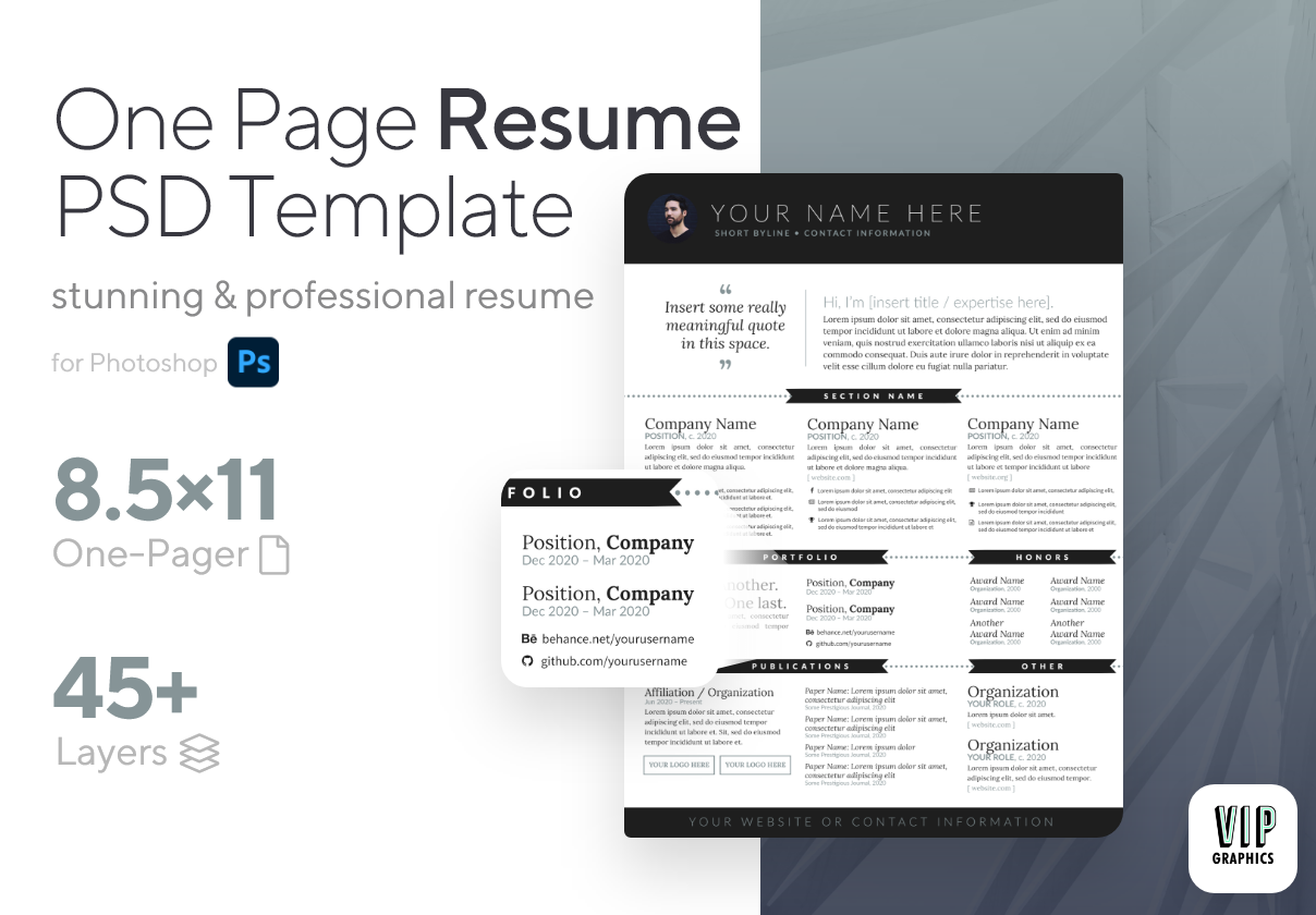 One-Page Resume Template PSD Photoshop | VIP.graphics