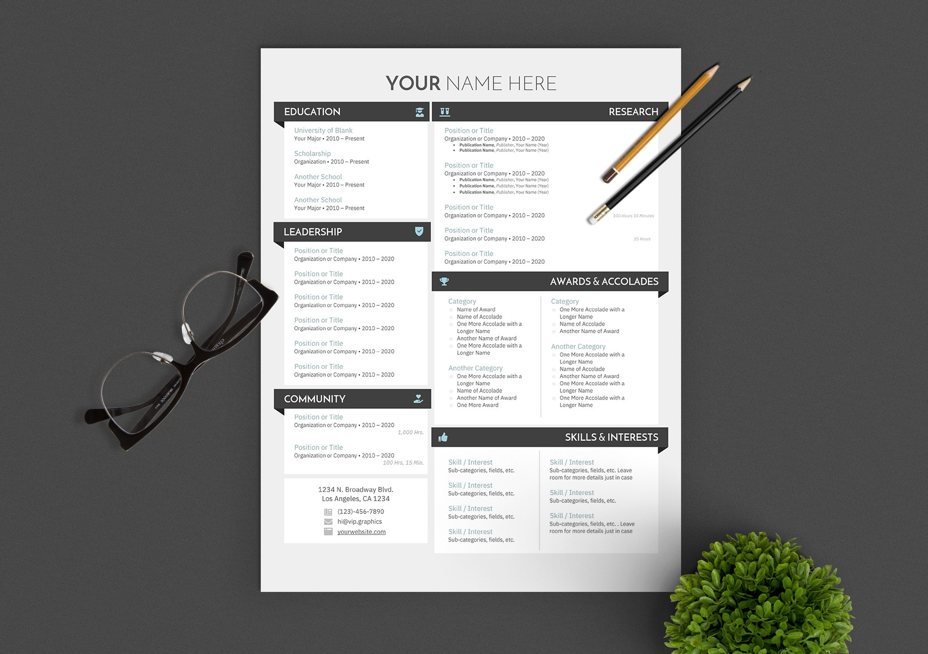 One-Page Modern Creative Resume Template for Word .DOCX | VIP.graphics
