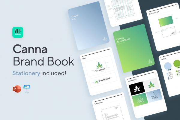 Canna Brand Identity Guidelines Template (PPT): Cannabis, Hemp, CBD