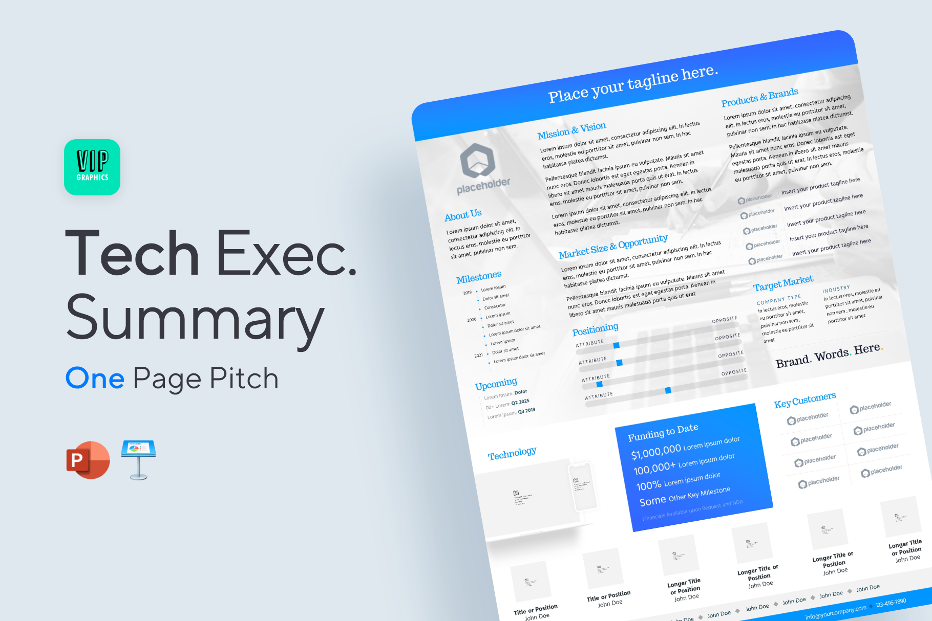 Tech Startup One-Pager Executive Summary template for Powerpoint and Keynote| VIP.graphics