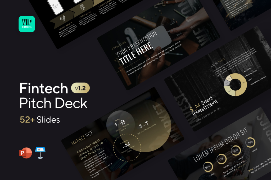 Fintech Pitch Deck Template - Startup Technology Presentation   VIP.graphics