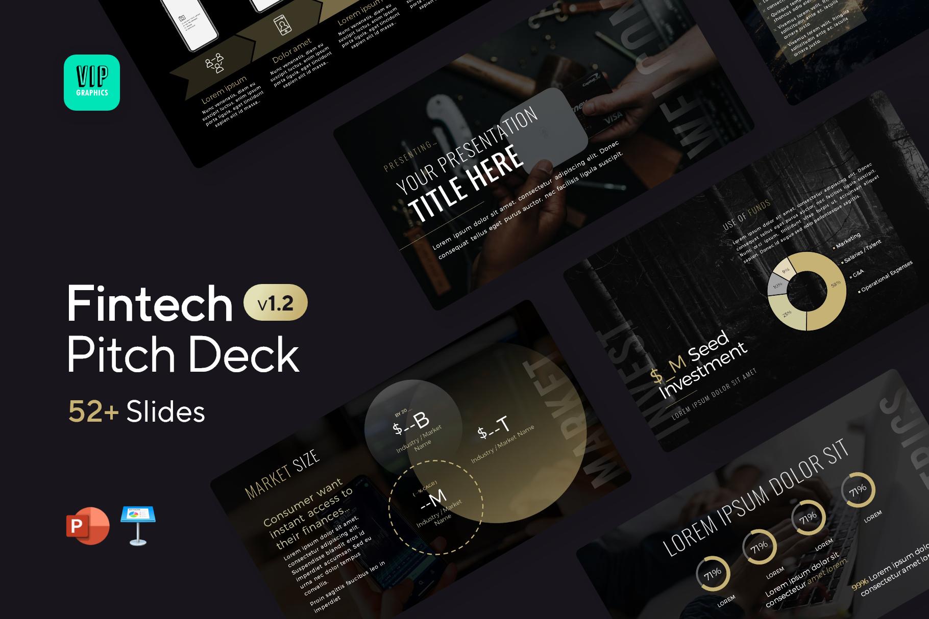 Fintech Pitch Deck Template - Startup Technology Presentation | VIP.graphics