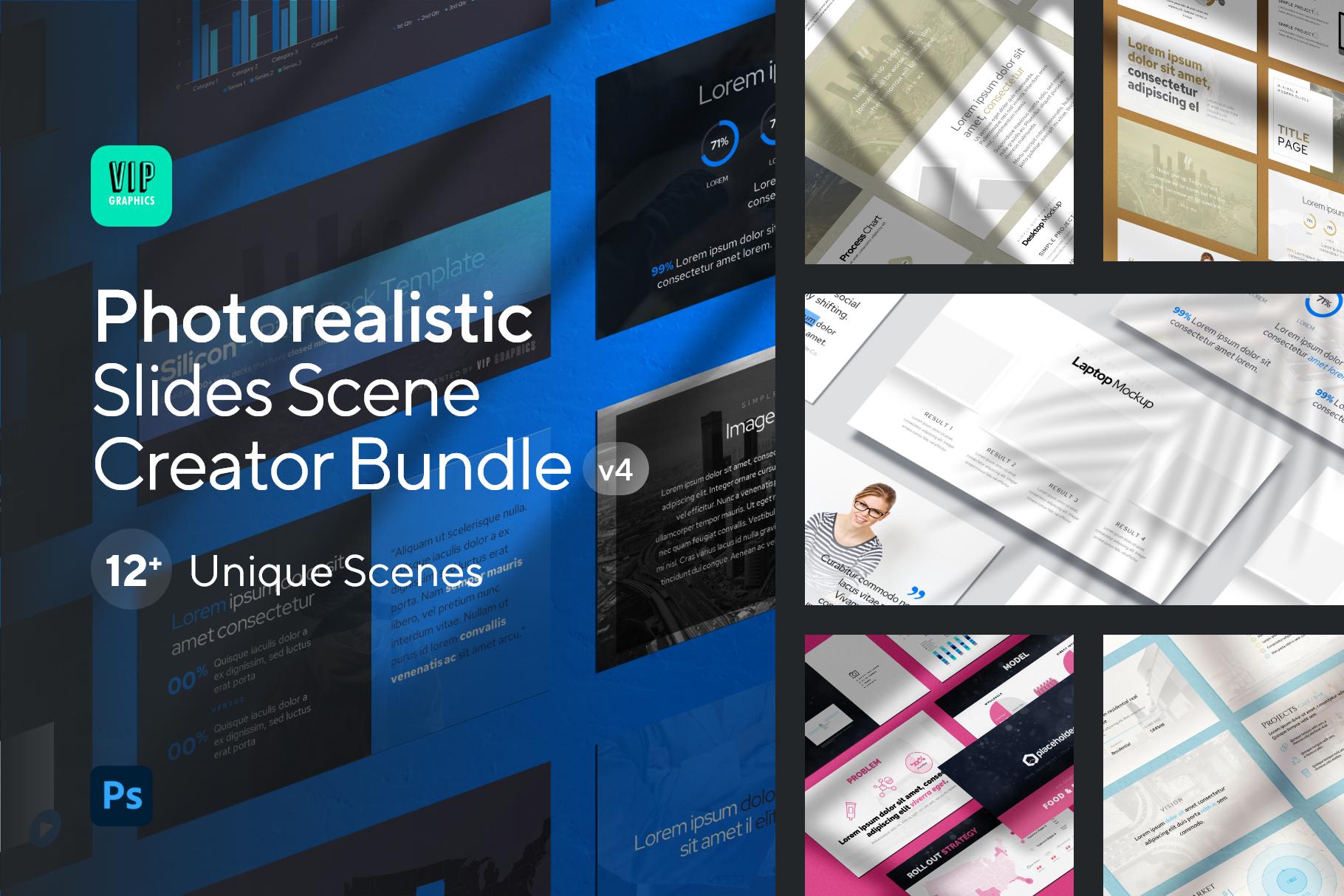 Photorealistic Slides Mockup PSD - Scene Creator Shadows & Textures | VIP.graphics