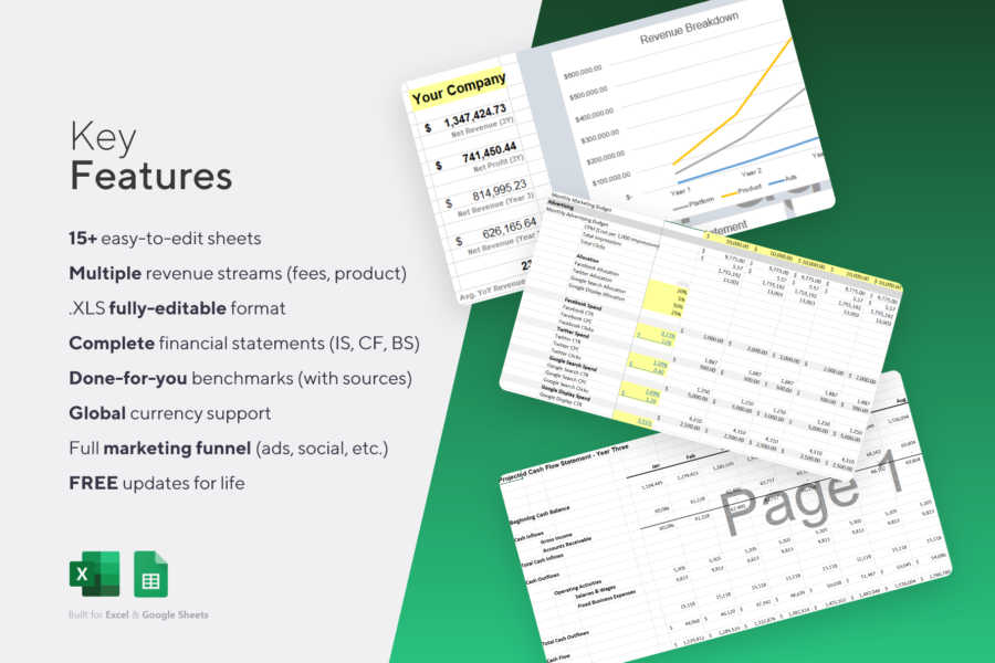 Startup Marketplace Projections Financial Sheets Excel Template