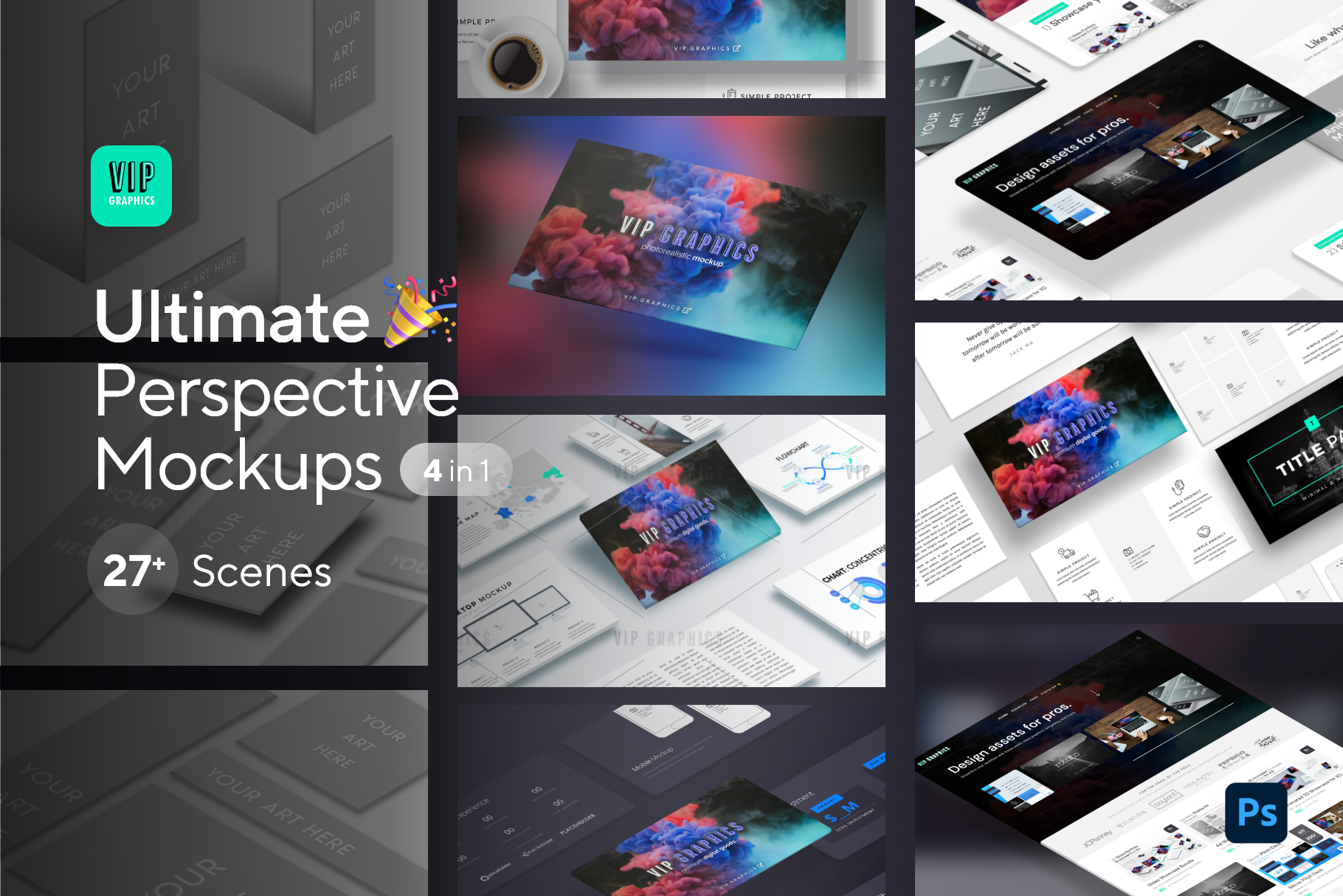 Ultimate Perspective Mockup Bundle PSD: All-in-One Full Shop Bundle (Preview) | VIP.graphics