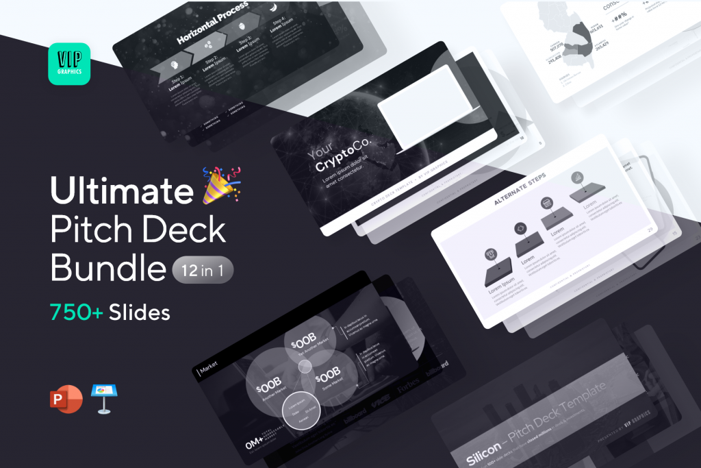 Ultimate Pitch Deck Template: 12-in-1 bundle of 750+ expert-designed slides