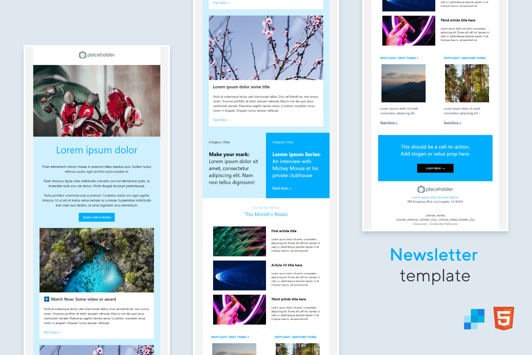 Newsletter HTML Email (No-Code) for SendGrid: Drag-n-drop editing, 100% HTML| VIP.graphics