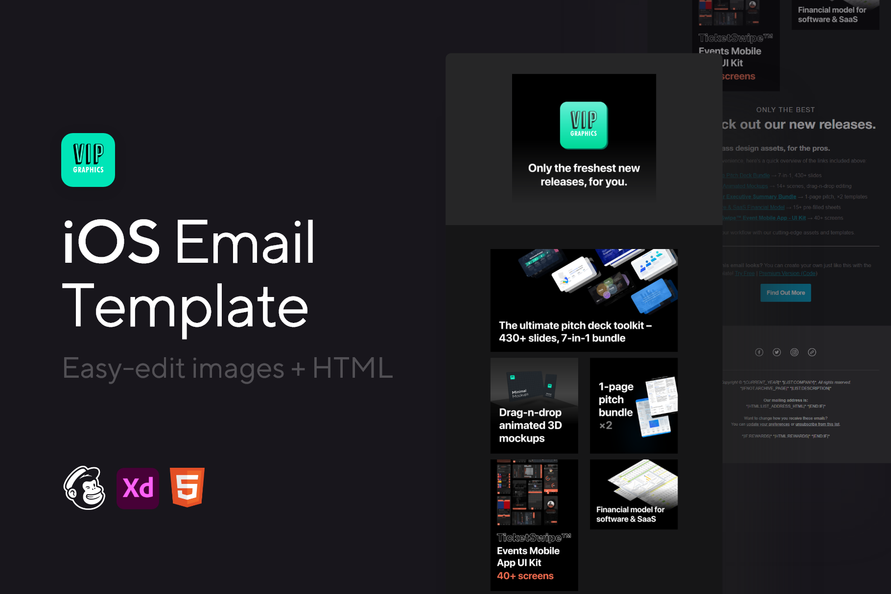 iOS 14 Newsletter Email Template - Editable HTML + Images