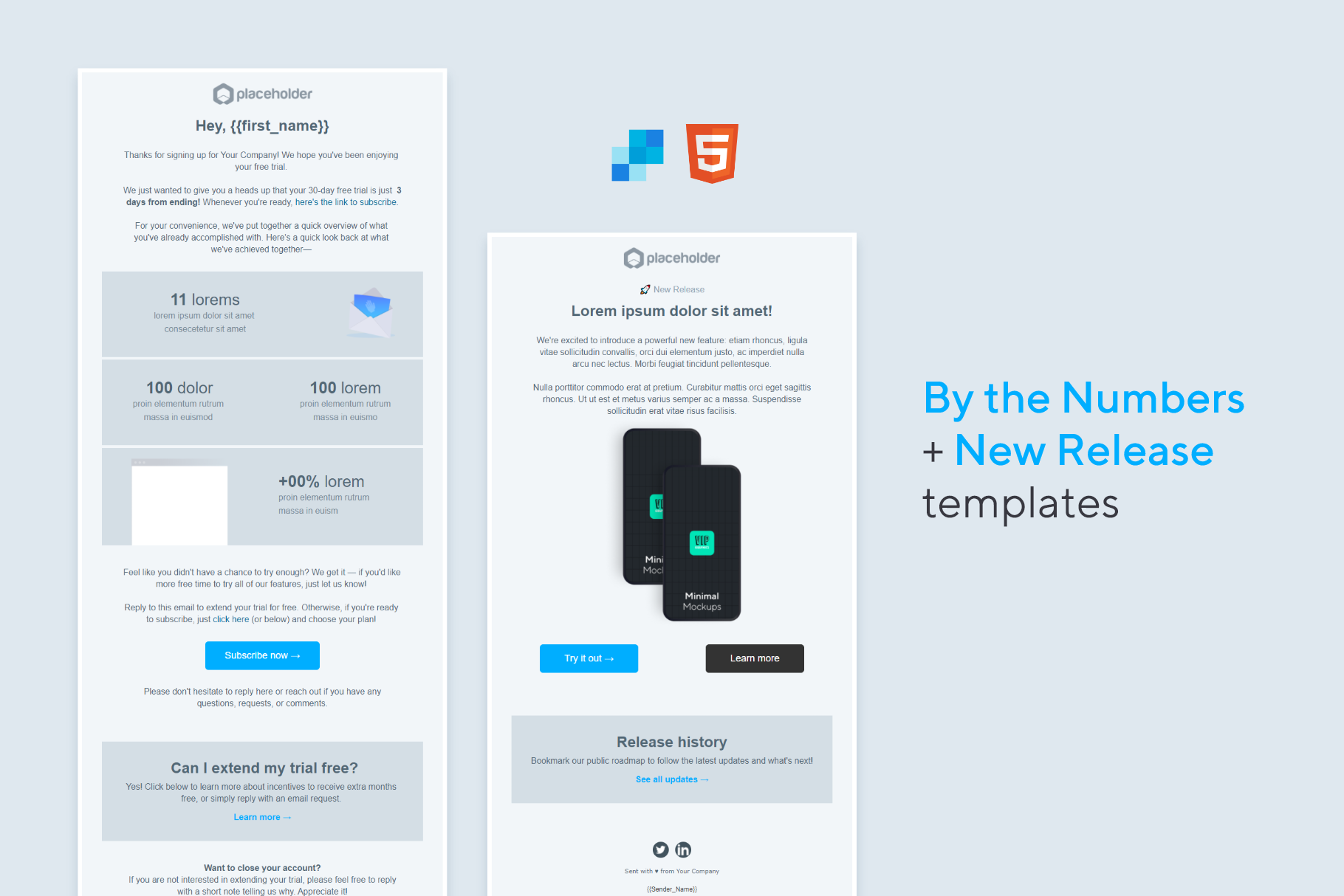 HTML Email Template: New Releases & Free Trial / Account Statistics | VIP.graphics
