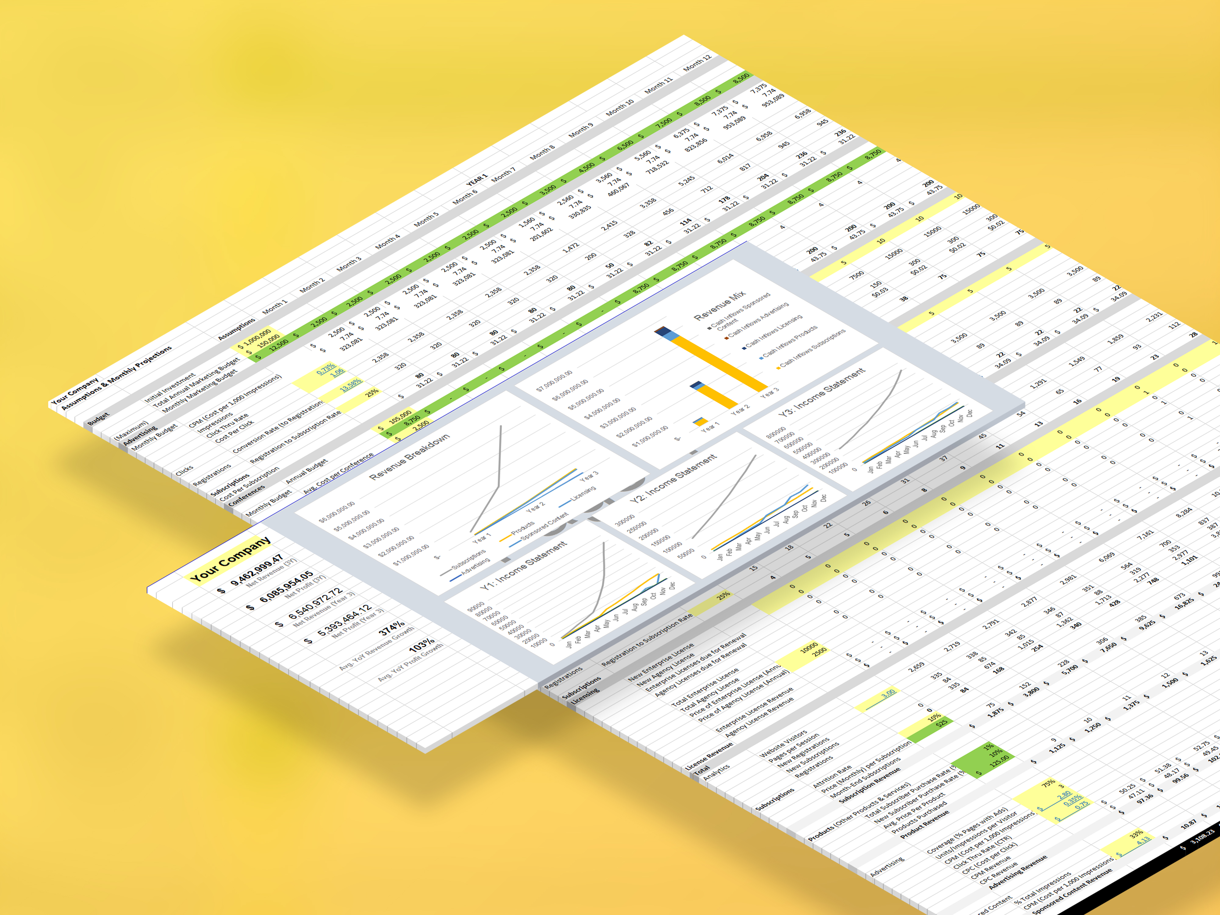 Financial Model / Projections Template (Preview) | VIP.graphics