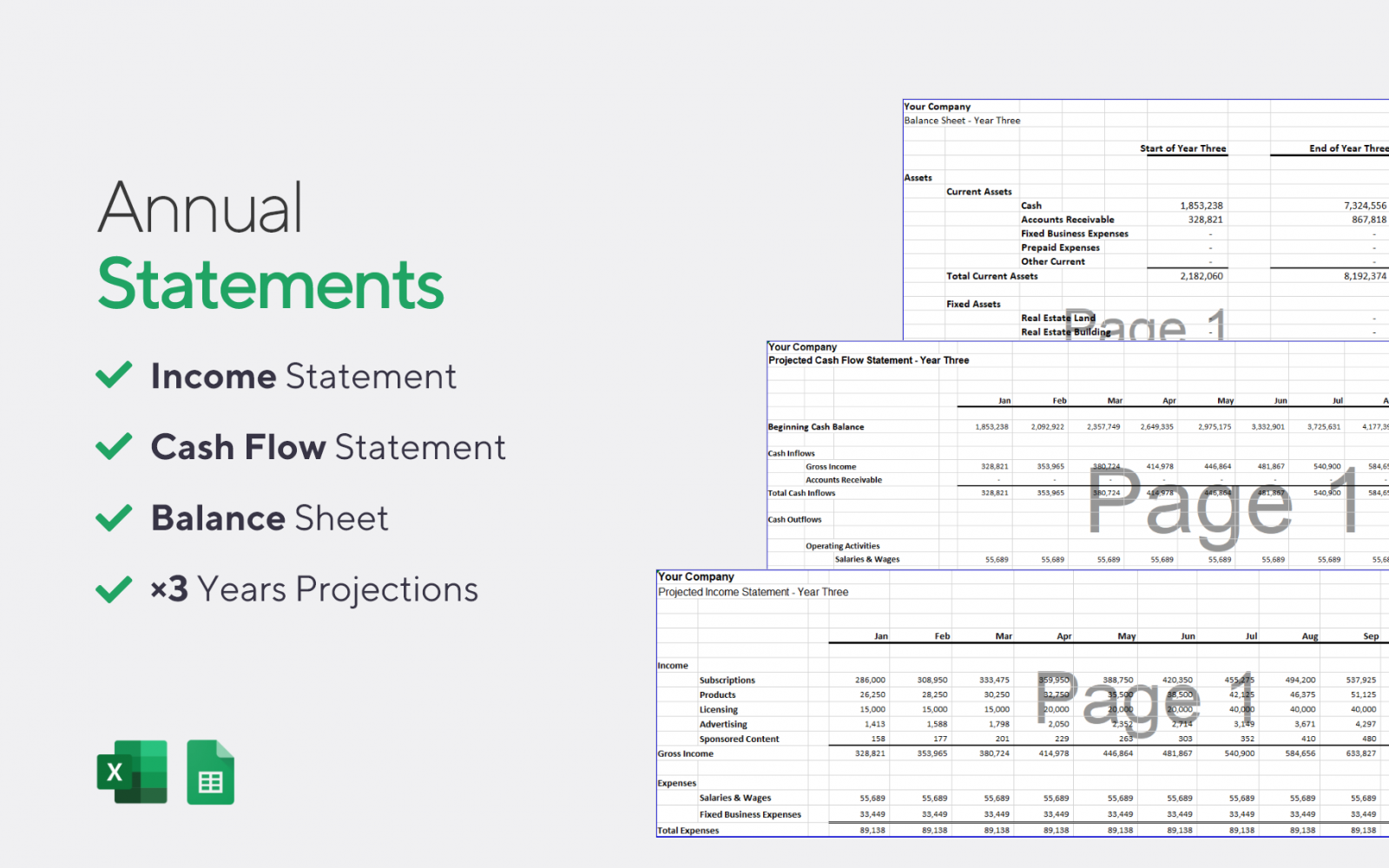 Annual Accounting Statements - Software & SaaS Startup Financial Model Template for Excel