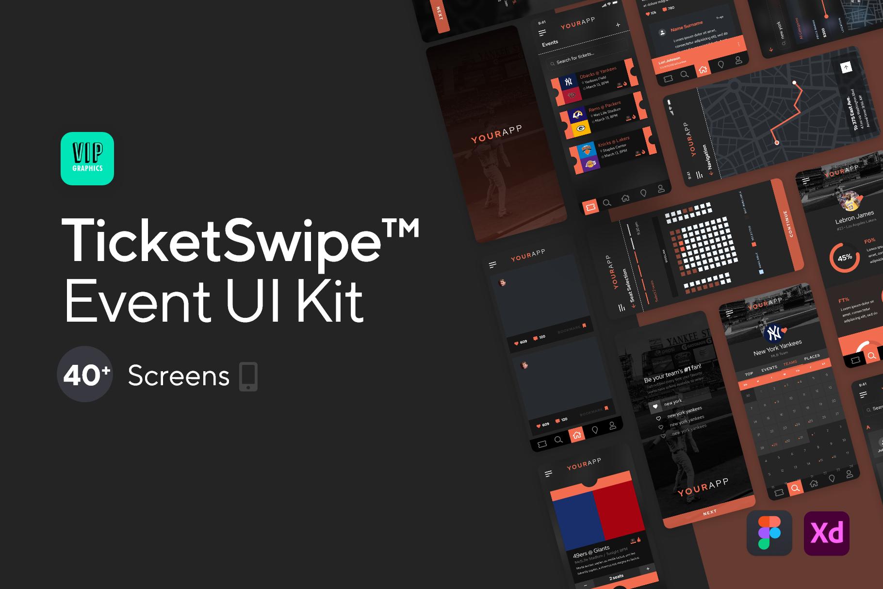 Ticket Swipe™ : Event Discovery Mobile App UI Kit | VIP.graphics