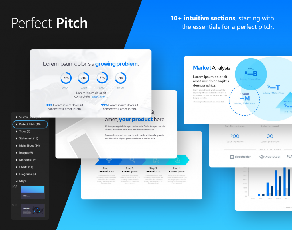 Perfect Pitch: all the essentials, 10+ intuitive sections | Startup Pitch Deck Template | VIP.graphics