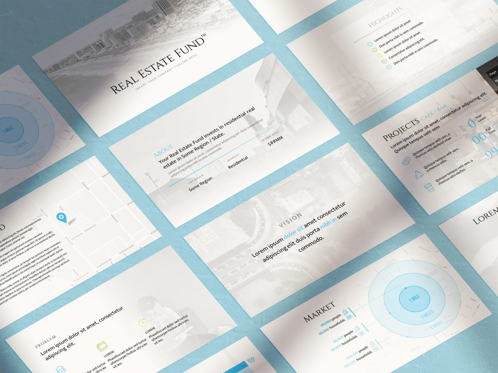 Shadows Mockup Presentation PSD Template: Real Estate Slides   VIP.graphics