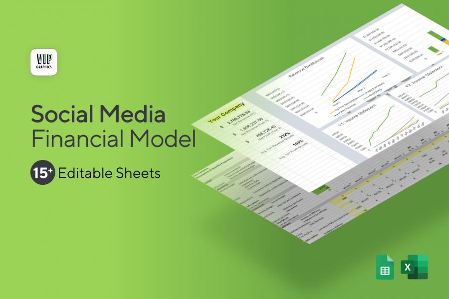 Social Media Platform: Financial Model / Projections Excel Template (Preview)   VIP.graphics