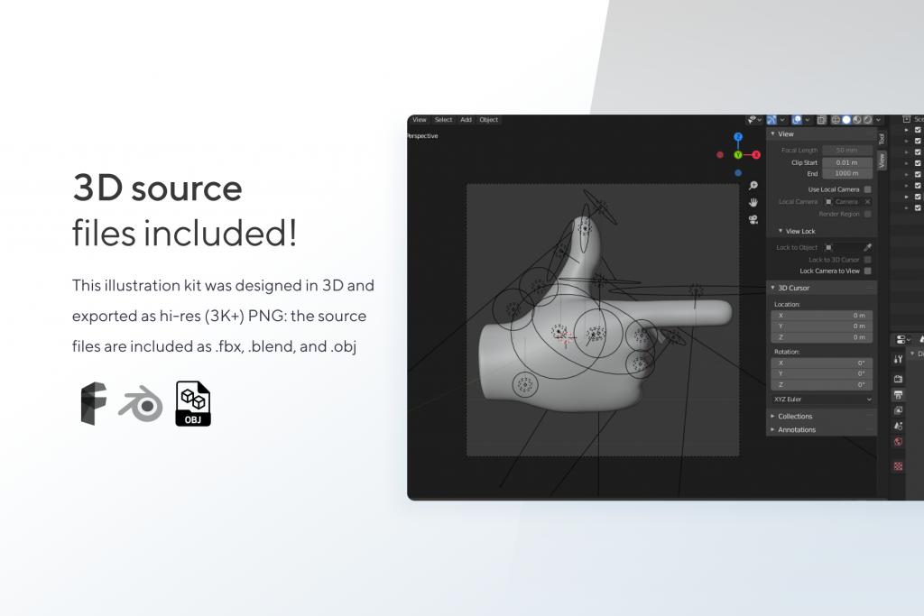 3D Hands - Illustration Kit - Gestures for Blender, OBJ, FBX