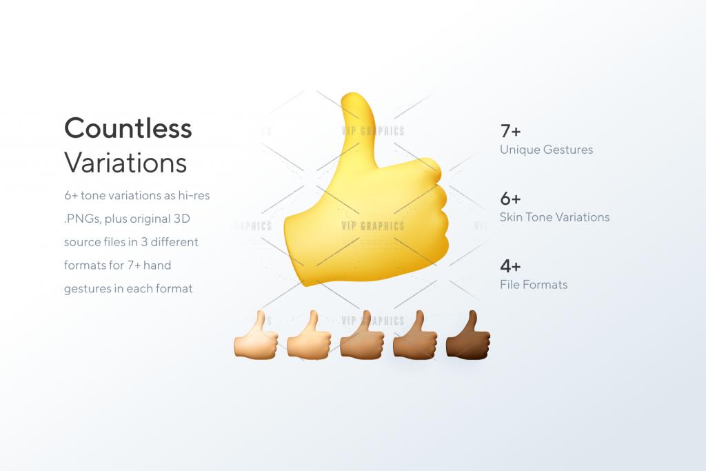 3d Hands - Skin Tone Variations - Gestures Illustration Kit | VIP.graphics
