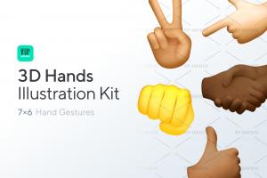 3D Hands Gestures Illustration Kit | VIP.graphics