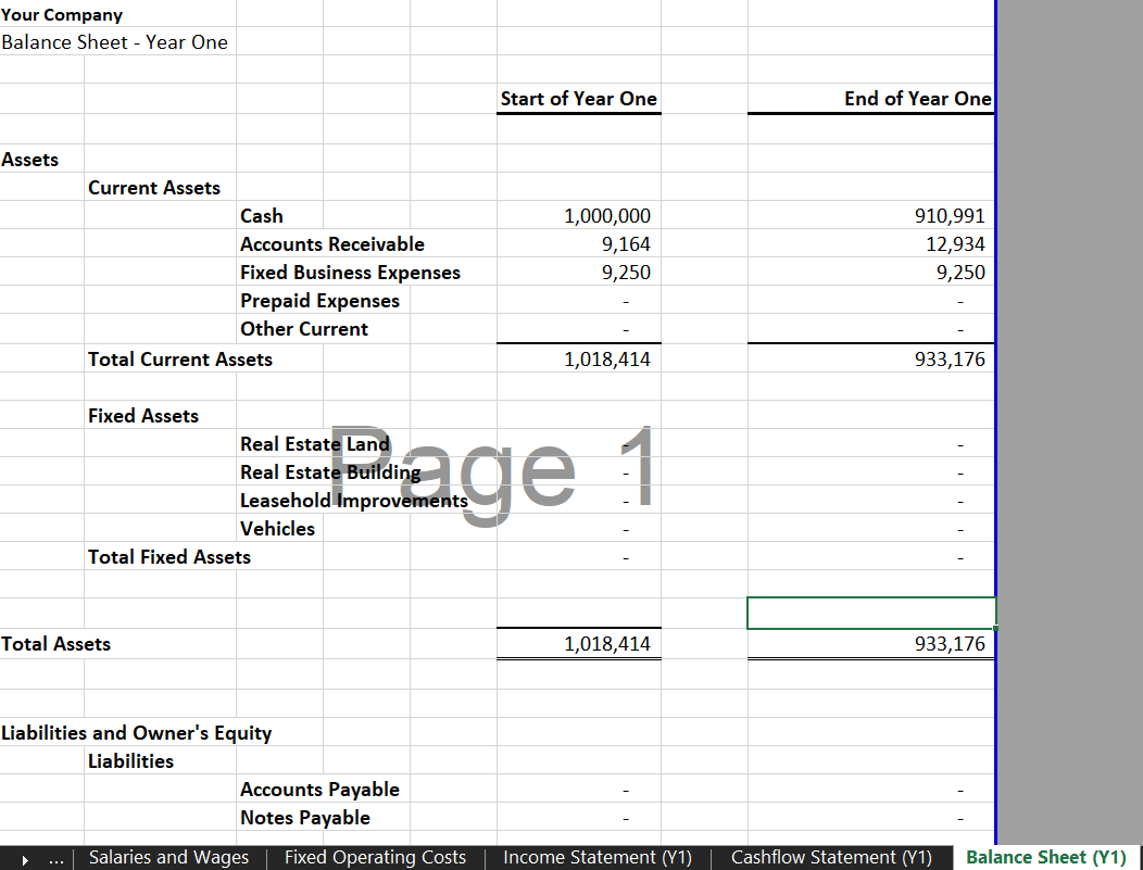 Annual Balance Sheet - eCommerce Financial Model Template for Excel & Google Sheets - Annual Financial Statement | VIP.graphics