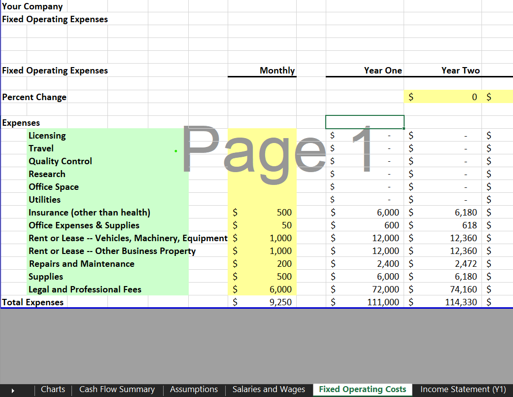 Fixed Operating Expenses - eCommerce Financial Model Template for Excel & Google Sheets | VIP.graphics