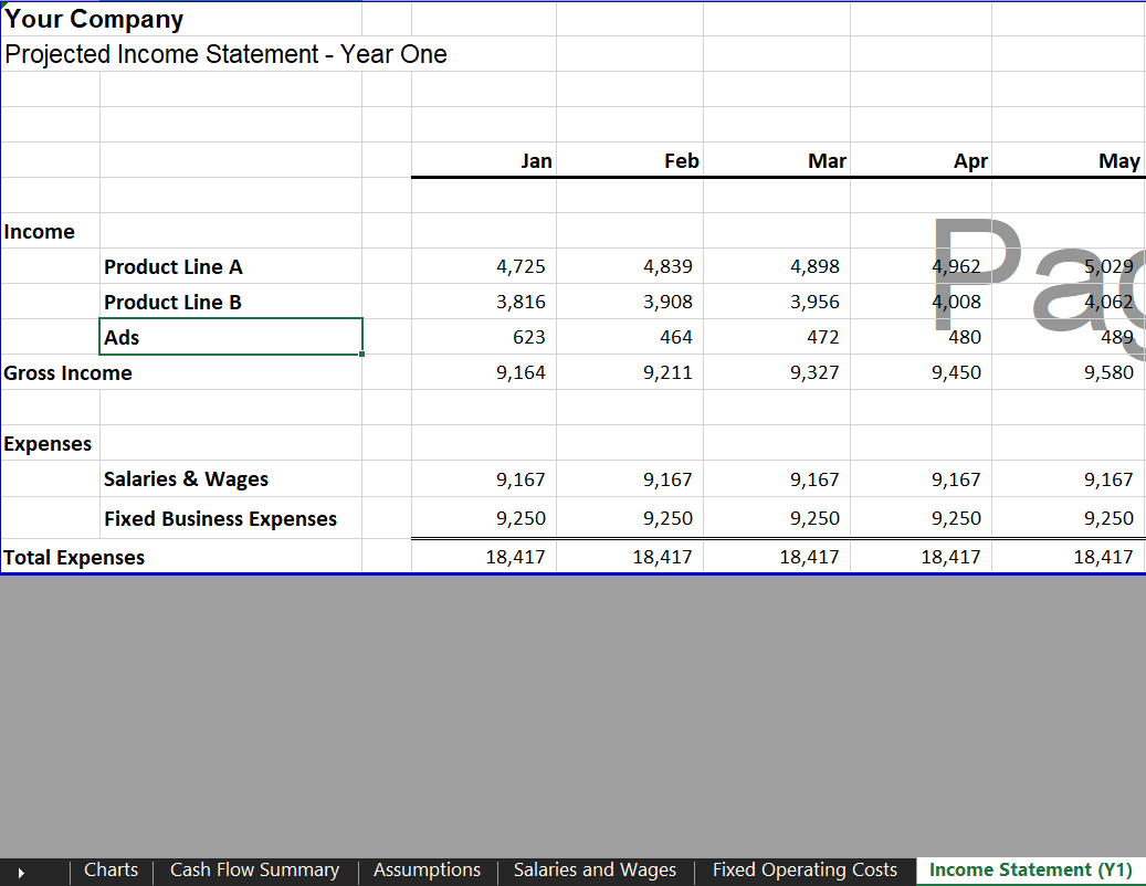 Annual Income Statement - eCommerce Financial Model Template for Excel & Google Sheets | VIP.graphics