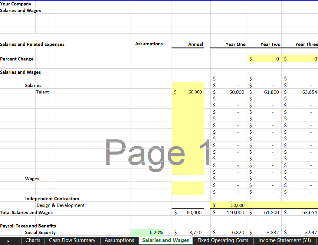 Salaries & Wages Sheet - eCommerce Financial Model Template | VIP.graphics