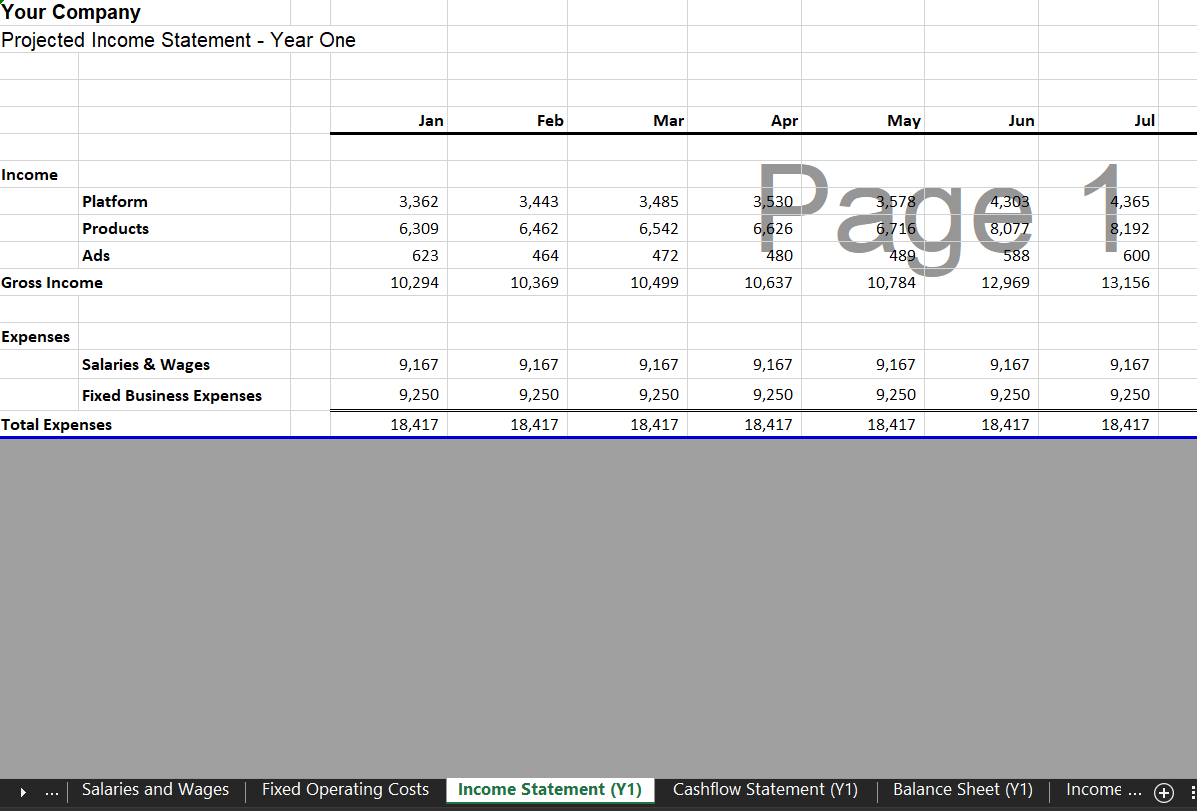 Annual Income Statement - Marketplace Financial Model Template for Excel & Google Sheets | VIP.graphics