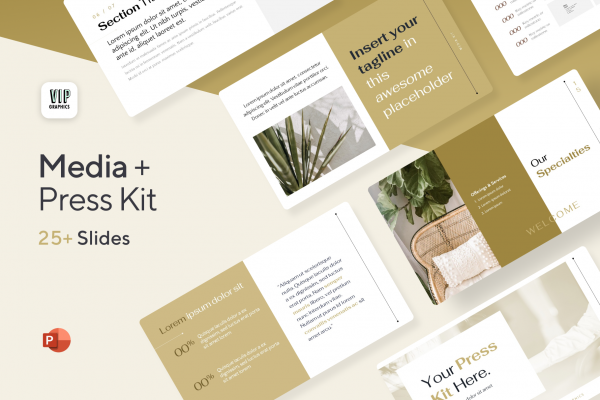 Media Kit / Press Kit Template for PowerPoint - No Photoshop required   VIP.graphics