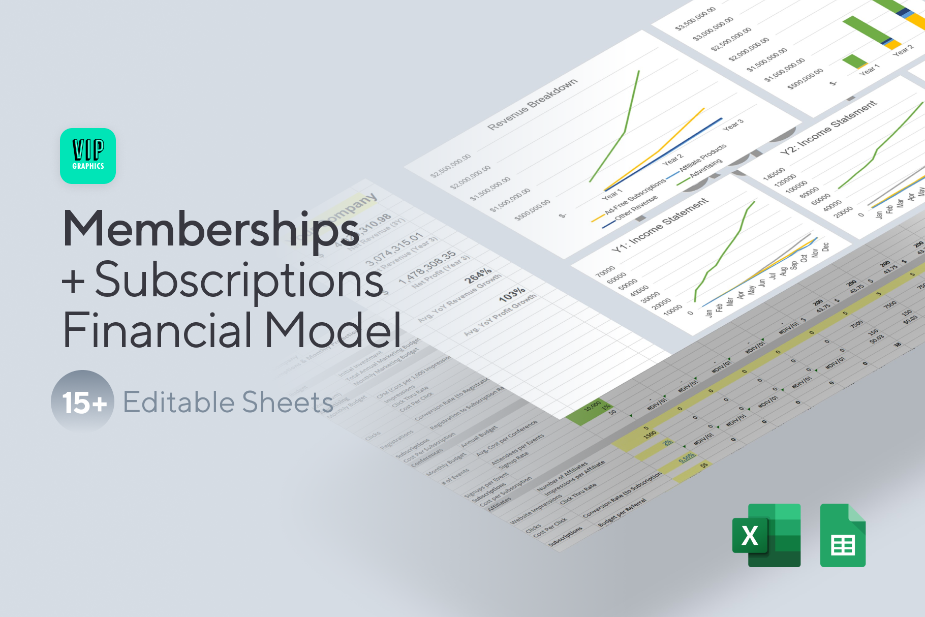 Memberships & Subscriptions Financial Model Template for Excel & Google Sheets