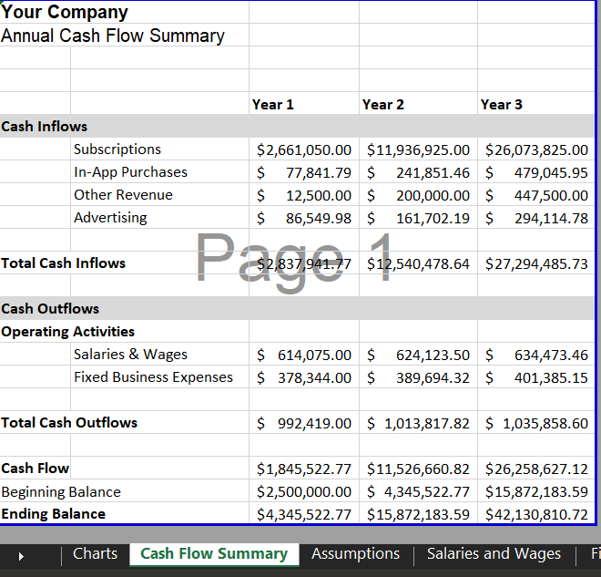 Cash Flow Summary - Mobile App Financial Model Template | VIP.graphics
