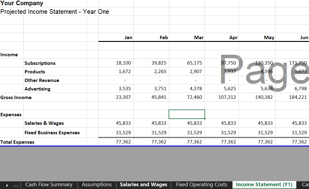 Annual Income Statement - Mobile App Financial Model Template for Excel & Google Sheets | VIP.graphics