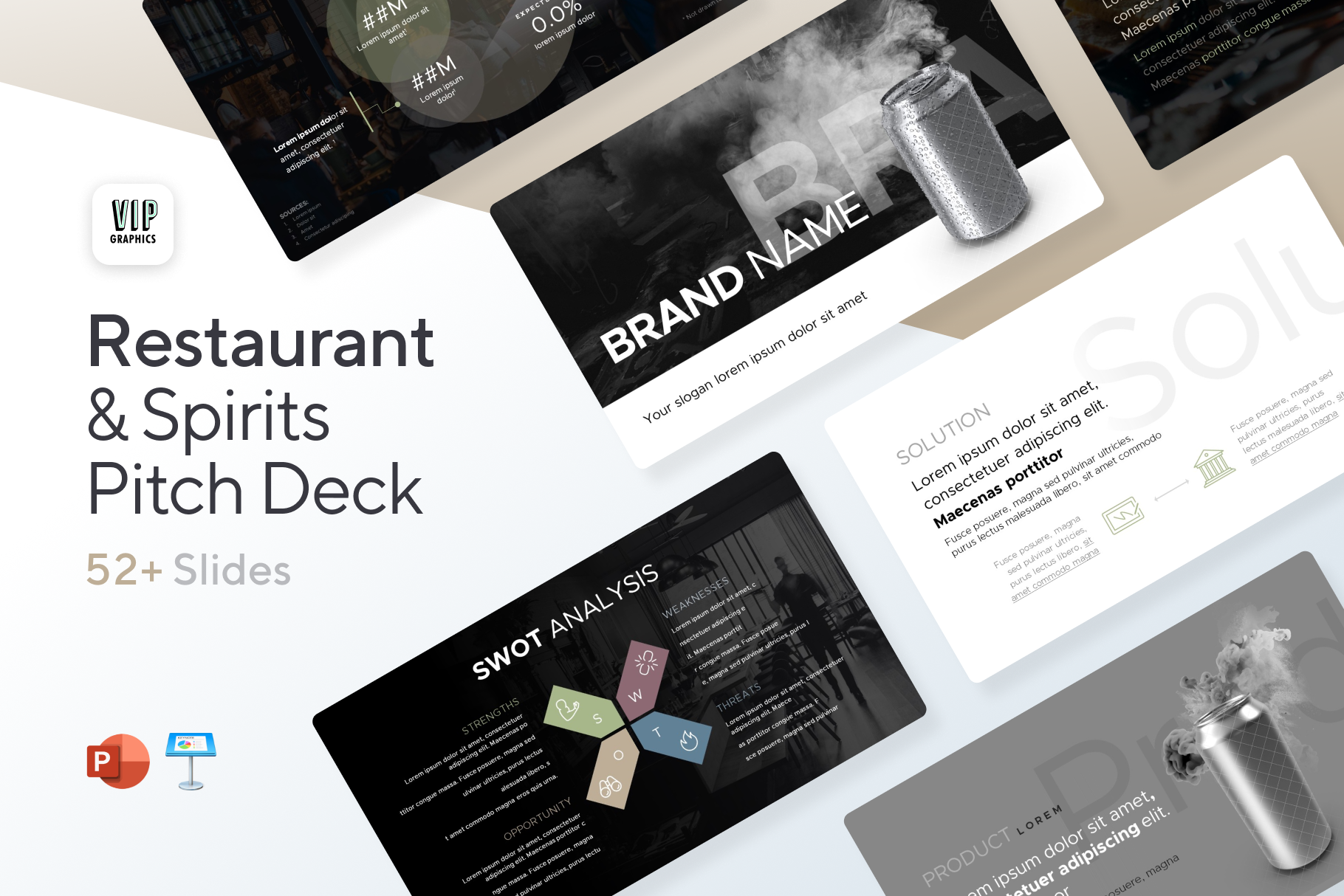 Restaurant & Spirits Pitch Deck Template for PowerPoint & Keynote | VIP.graphics
