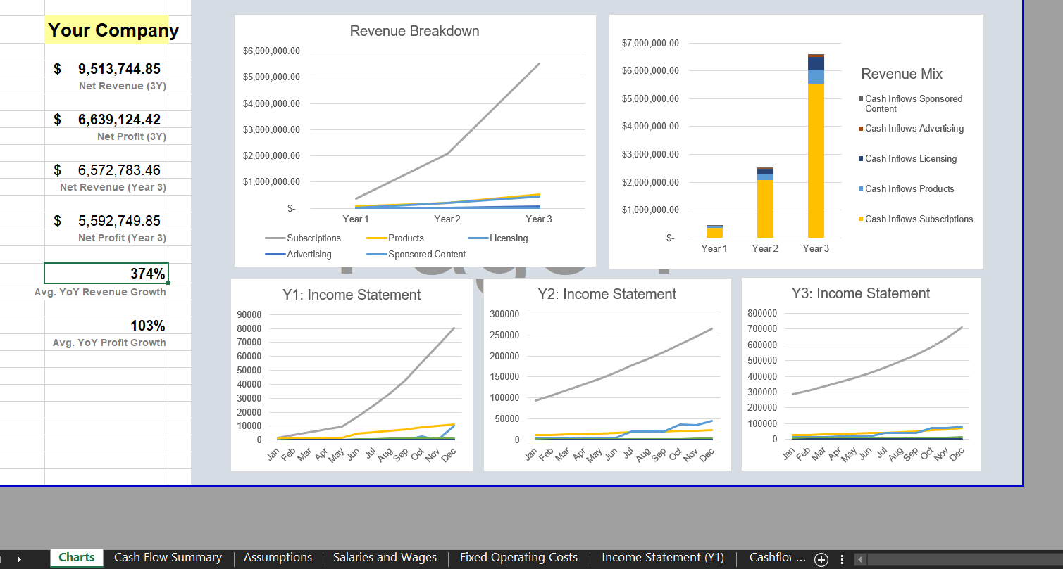 Dashboard: Charts & Metrics - Software SaaS Financial Model Template for Excel | VIP.graphics
