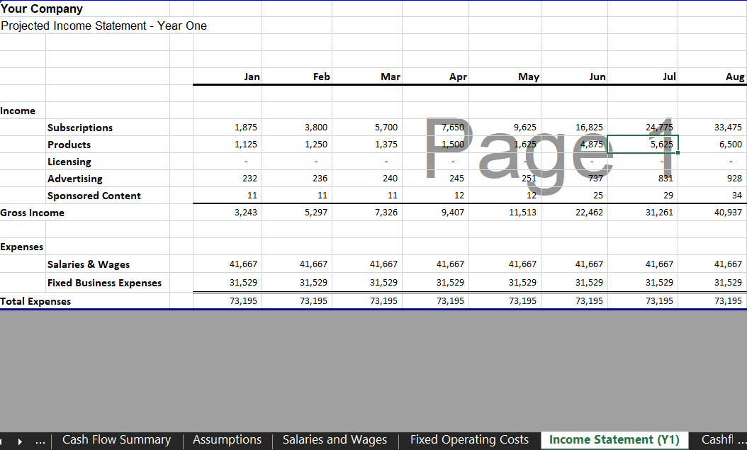 Annual Income Statement - Software SaaS Financial Model Template for Excel & Google Sheets | VIP.graphics