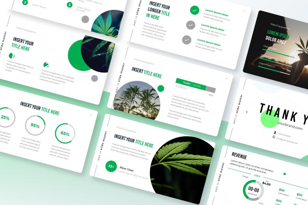 Cannabis, Hemp & CBD - Pitch Deck Template for Presentation & Keynote   VIP Graphics