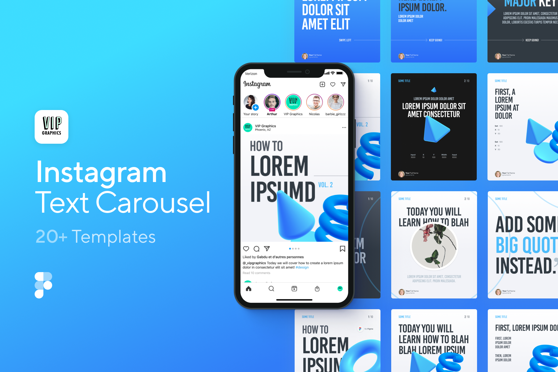 Creative Instagram Carousel Template for Figma | VIP Graphics
