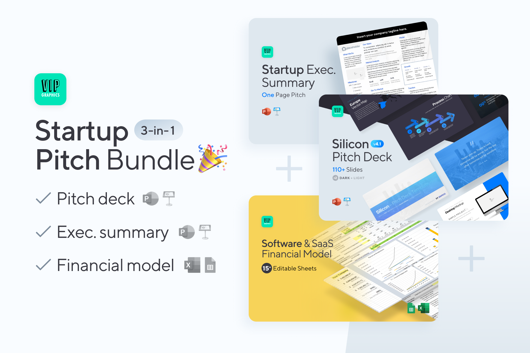 Startup Pitch Bundle: Pitch Deck + Executive summary + Financial model | VIP.graphics