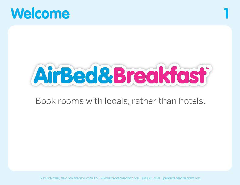 Airbnb Pitch Deck Original: Cover Slide — Best Pitch Deck Examples | VIP Graphics