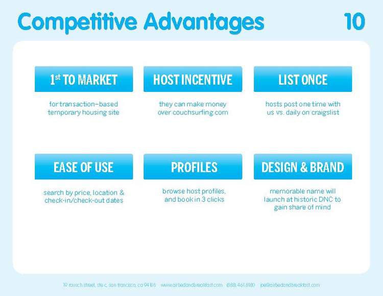 Airbnb Pitch Deck Original: Competitive Advantage Slide — Best Pitch Deck Examples | VIP Graphics