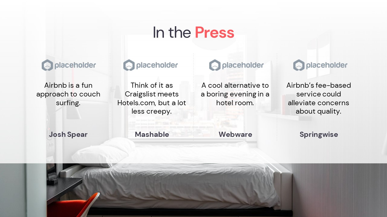 Airbnb Pitch Deck Template: Press Quotes Slide — Best Pitch Deck Examples | VIP Graphics